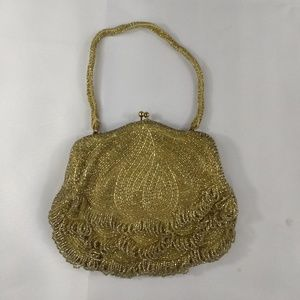 VINTAGE Wal Borg Beaded Purse Handbag Gold Amazing